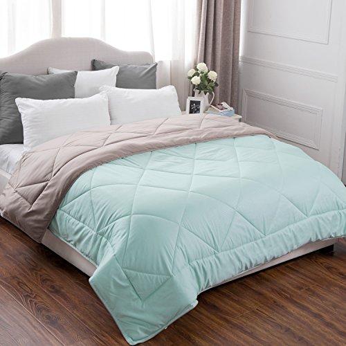 King Comforter Reversible Duvet Insert with Corner Ties-Quilted Down Alternative Comforter Diamond Stitching Design Mint/Tan 102