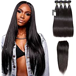 "Puddinghair Straight Unprocessed Virgin Brazilian Hair 4 Bundles with Lace Closure 100% Human Hair Bundles (14""16""18""20""+Closure14"",Free Part)"