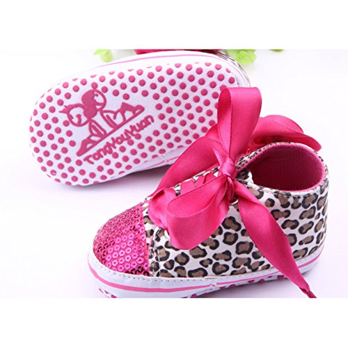 Toddler Girls Sequin Leopard Lace Up Soft Sole Sports Sneaker Crib Shoes Rose 6-12 Months