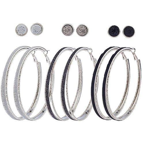 - Lux Accessories Silvertone Hem Black Caviar Glitter Multi Earring Pack 6PCS