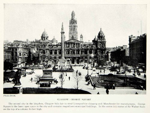 1924 Print George Square Glasgow Scotland UK Cityscape Sir Walter Scott Statue - Original Halftone Print by...