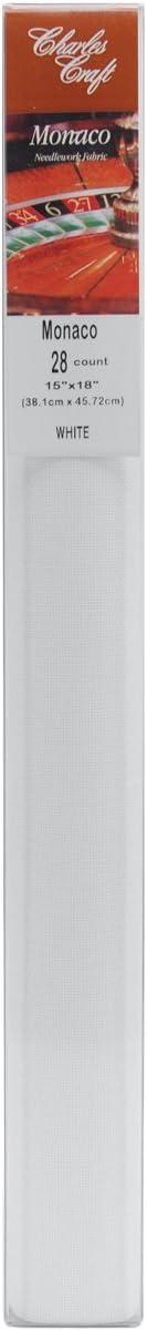 DMC MO0236-6750 Charles Craft 28 Count Evenweave Monaco Aida Cloth White 1-Pack 15 by 18-Inch