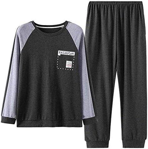 メンズパジャマ メンズ長袖パジャマラウンドネックタフト男性はホーム服コットンパジャマスーツを着ることができます 上下 セット 春 秋 (Color : Photo color, Size : L)