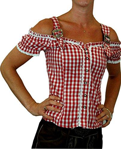 Sexy Carmenbluse Trachtenbluse Landhaus Mieder HANNI in verschiedenen Ausführungen, Größen:XL;Farben:rot
