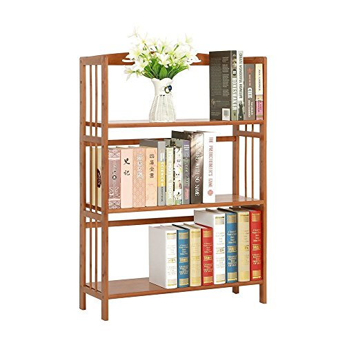 100% Natural Bamboo Bookshelf, Multi-Layer Landing Storage Rack, Simple Removable Student Bookcase (3-Tier) For Sale