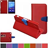 Sony Xperia M4 Aqua Case,Mama Mouth [DETACHABLE Feature] Flip Hard Case [Stand View] PU Leather [Wallet Case] With Card Slots Cover For Sony Xperia M4 Aqua E2303, Red
