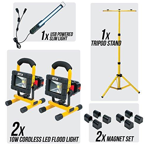 10w Cordless LED Flood Light-2 Lights w/ Removable Batteries, Magnets, Stand, Slim Light by Zeta