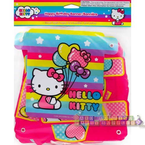 Designware Hello Kitty Party Supplies Balloon Rainbow Happy Birthday Jointed Banner (1ct) -
