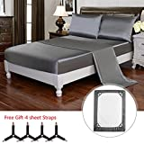 HollyHOME Silky Soft Luxury 4 Piece Deep Pocket Queen Satin Sheet Set, Free Fitted Sheet Straps Included, Grey