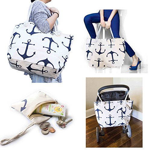 Summer Beach Bag Stroller Friendly Women's Large Capacity Mom's Tote Beach Shoulder Bag with Rope Handles -Shopping Bag, Diaper Bag, Yoga Bag, Toys, Towels, Swim Suits, etc. (Anchor Navy)