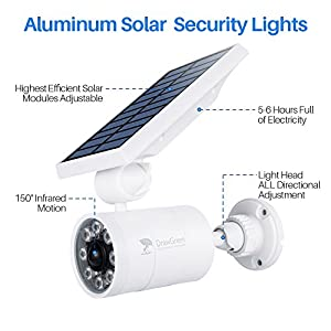 Solar Lights Outdoor Motion Sensor Aluminum,1400-Lumens Bright LED Spotlight 5-Watt(110W Equivalent),Outdoor Solar Wireless Flood Security Lights for Garden Porch Patio,Solar Powered Lights(White)
