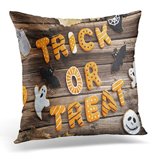 Emvency Throw Pillow Cover Black Autumn Fresh Halloween Gingerbread Cookies on Brown Wooden Decorative Pillow Case Home Decor Square 18