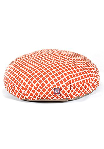 Burnt Orange Bamboo Small Round Indoor Outdoor Pet Dog Bed With Removable Washable Cover By Majestic Pet Products