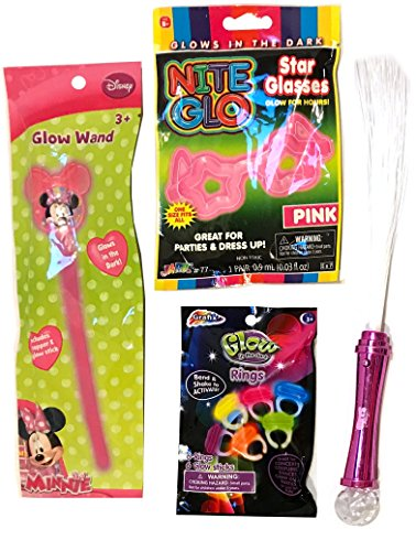 Glow In the Dark Sets - Glow Jewelry - Glow Rings - Glow Wands, Glasses - Fiber Optic Wands - Halloween Costume Accessories - BOY and GIRL Styles (Minnie Mouse) (Minnie Mouse Led Costume)