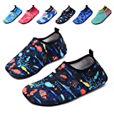 lewhosy Kids Boys and Girls Swim Water Shoes Quick Drying Barefoot Aqua Socks Shoes for Beach Pool Surfing Yoga(22/Fish Blue)