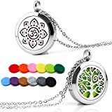 2PCS Aromatherapy Essential Oil Diffuser Necklace Stainless Steel Pendant Locket 12 Felt Pads