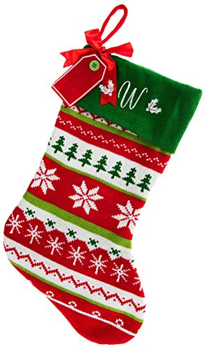 Monogrammed Christmas Stocking, Red with Green Cuff Fair Isle Knitted, White Script Glitter Initial W
