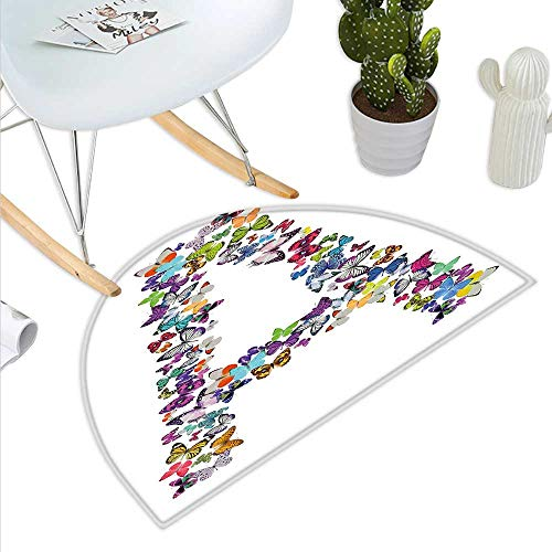 Page Alphabet Pebbles (Anniutwo Letter A Half Round Rubber Door mat The First Letter of The Alphabet in Butterfly Form Nature ABC Multiple Colors Half Round Coir Door mat Multicolor)
