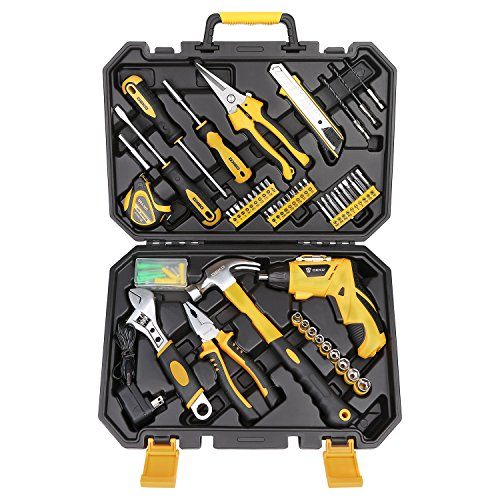 DEKO 108 Piece Socket Wrench Auto Repair Tool Combination Package Mixed Tool Set Hand Tool Kit with Plastic Toolbox Storage (Cordless Combination Kit)