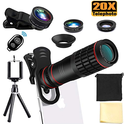 Phone Camera Lens Kit, 20X Telephoto Lens with Tripod, Shutter Remote, 198° Fisheye Lens, 0.63X Super Wide Angle Lens & 15X Macro Lens, Compatible with iPhone X Xs Xs Max XR 8 7 6 6s Plus Samsung