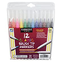 Sargent Art 22-1521 12 Count Brush Tip Classic Marker, Pouch, Assorted