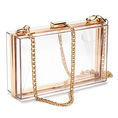 Women Acrylic Clear Clutch Transparent Crossbody Purse Evening Bag Sport Events Stadium Approved Chain Strap - Gold