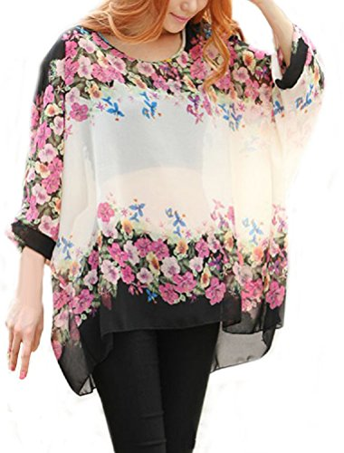 iNewbetter Womens Floral Batwing Sleeve