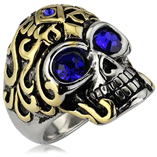 XAHH Mens Stainless Steel Vintage Punk Style Gothic Flower Skull Biker Ring with Blue CZ Eye,Gold Silver