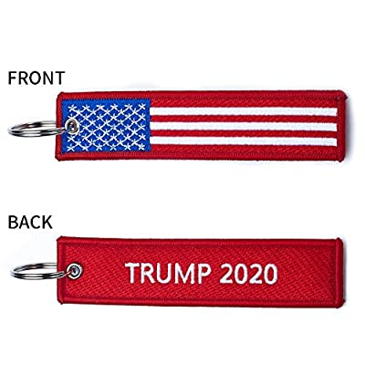 PATWAY 1Pcs American President Donald Trump 2020 Make Keep US America Great Embroidered Luggage Tag Keychain for Jeep Toyota Honda BMW Ford Chevrolet Nissan Motorcycles, Scooters, Cars and Gift: Automotive
