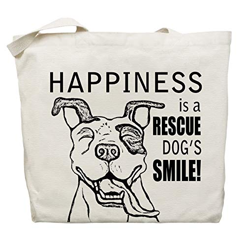 (Happiness is a Rescue Dog's Smile Tote Bag by Pet Studio Art)