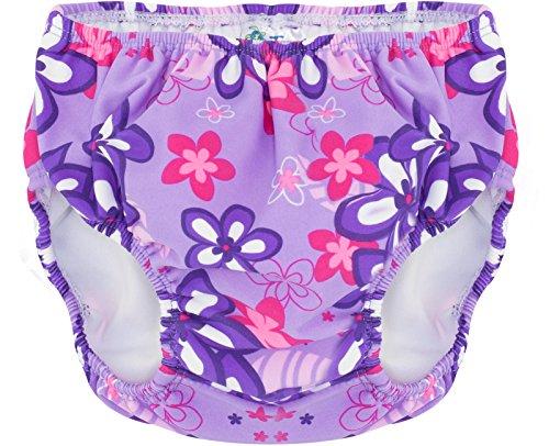 Tuga Girls Reusable Swim Diaper, Violet, L