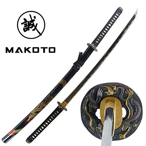 Makoto Hand Forged Razor Sharp 41  Black Samurai Katana Sword   Hand Painted Golden Dragon On Scabbard