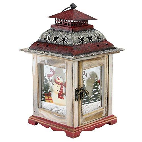 Northlight Snowman and X-Mas Pillar Candle Lantern, 11.5