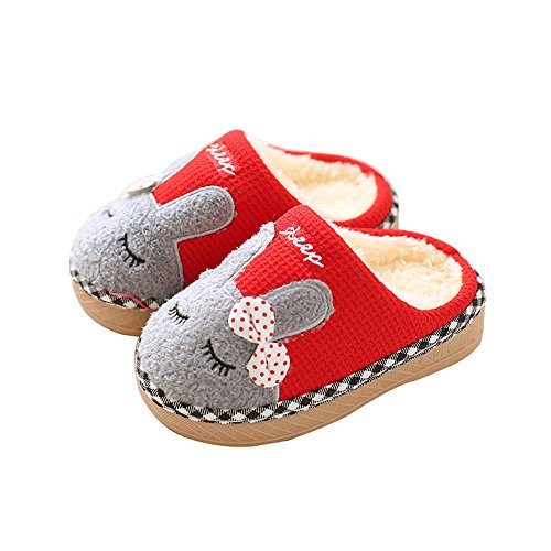 Maybolury Boys Girls Home Slippers,Kids Cute Fur Lined Warm House Slippers Winter Indoor (Fur Lined Suit)