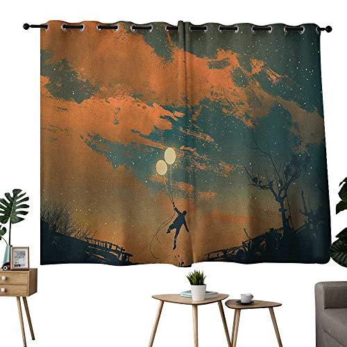 (NUOMANAN Curtains for Bedroom Fantasy,Flying Man with Balloons in Sky Starry Night Freedom Fun Theme Illustration, Orange Ash Gray,Rod Pocket Curtain Panels for Bedroom & Living Room 52