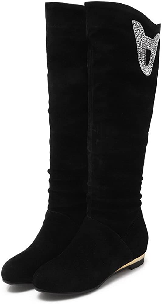 WeiPoot Womens Round Closed Toe Low-Heels Frosted Solid Knee-high Boots