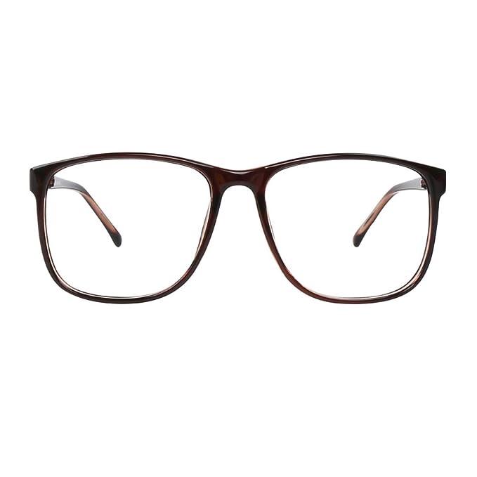 a4e1da291751 GLASSESLIT Brown Oversized wayfarer Clear Lens Eyeglasses Hipster Nerd  Fashion Keyhole Unisex