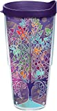 Tervis 1251714 Tree of Life Tumbler with Wrap and Royal Purple Lid 24oz, Clear