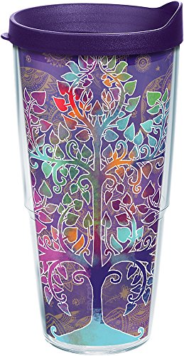 Tervis 1251714 Tree of Life Tumbler with Wrap and Royal Purple Lid 24oz, Clear by Tervis