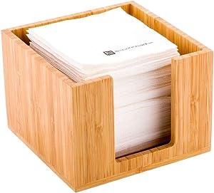 5.5 x 4 Inch Cocktail Napkin Holder, 1 Square Flat Napkin Holder - For Bars, Kitchen Tables, or Countertops, Sturdy, Natural Bamboo Tissue Napkin Holder, Dining Room Decor - Restaurantware
