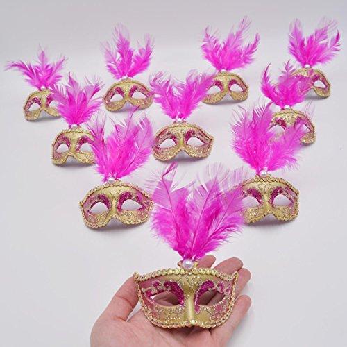 Yiseng Masquerade Mini Masks Party Decor 12pcs Feather Venetian Small Mardi Gras Halloween Mask for Decoration Fuschia Color ()