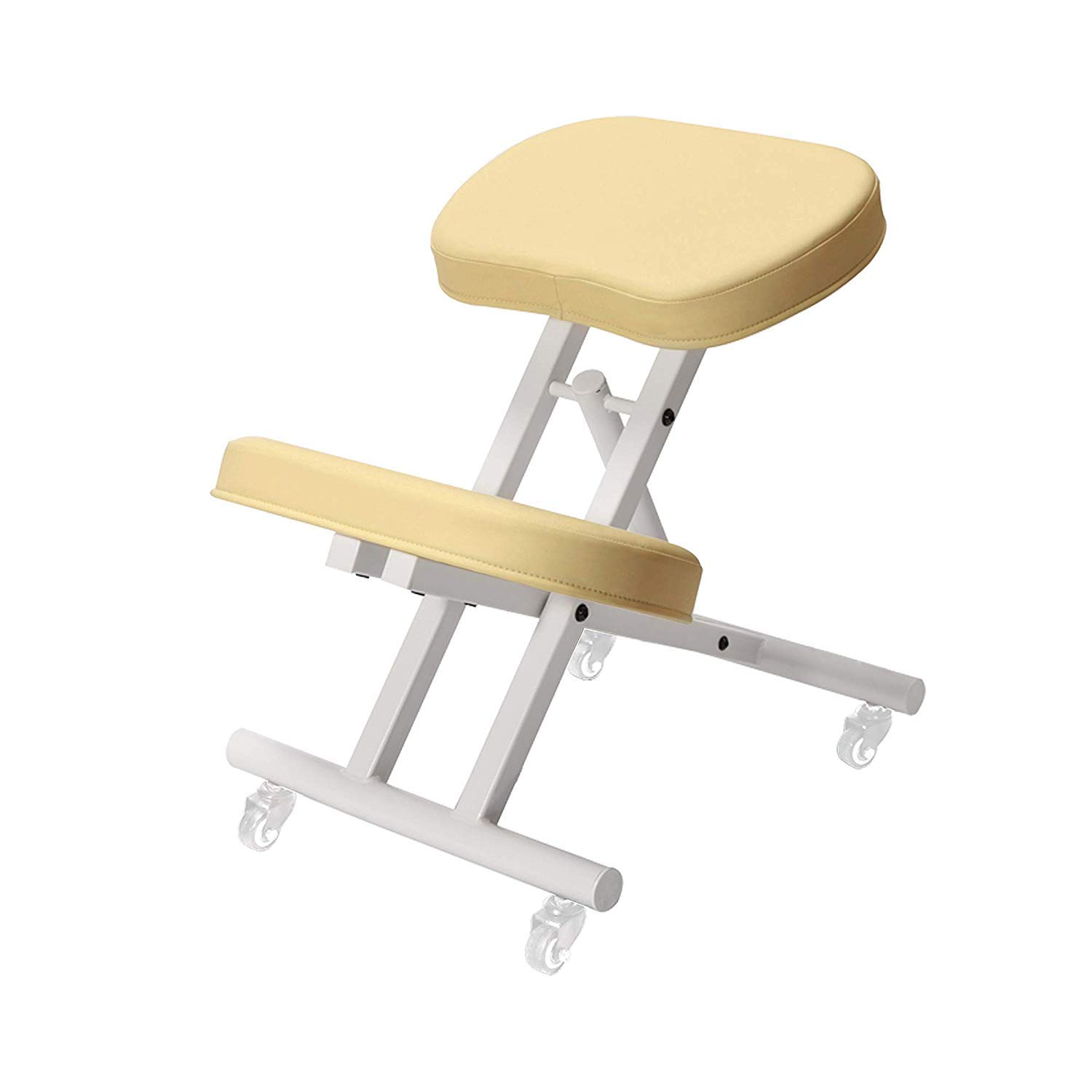 Master Massage Ergonomic Steel Kneeling Chair Posture Thick Cushion Seat Office and Home Rolling Adjustable Cream Color