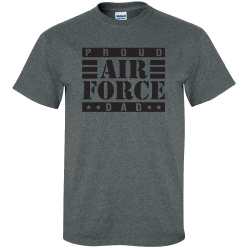 - zerogravitee Proud Air Force Dad Short Sleeve T-Shirt in Dark Heather Gray - XXXXX-Large