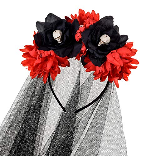 DreamLily Dia de Los Muertos Day of The Dead Headpiece Halloween Black Red Rose Skull Flower Crown Headband Party Costume NC24 (Red Black with Veil)