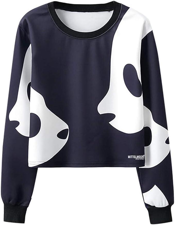 Sudaderas Mujer Cortas Tumblr Pullover Camiseta de Manga Larga con ...