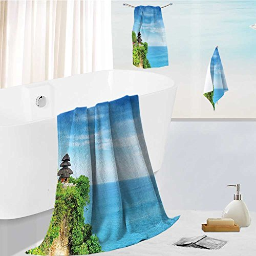 Miki Da Luxurious Soft and Thick Bath Towels Uluwatu Temple Bali Indonesia Seacoast Cliff Horizon Seascape Blue Green Eco Friendly,Bath Towels, Hand Towels, 13.8''x13.8''-11.8''x27.6''-27.6''x55.2'' by Miki Da