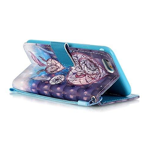 iPhone 8 Leder Hülle,iPhone 7 Bookstyle Ledertasche, Aeeque Luxuriös 3D Glitzer Bling [Cute Tier Milchkuh Muster] Kartenfächer Standfunktion Brieftasche Handytasche für iPhone 7 / 8 (4.7) Schutzhülle  Laternen Traumfänger