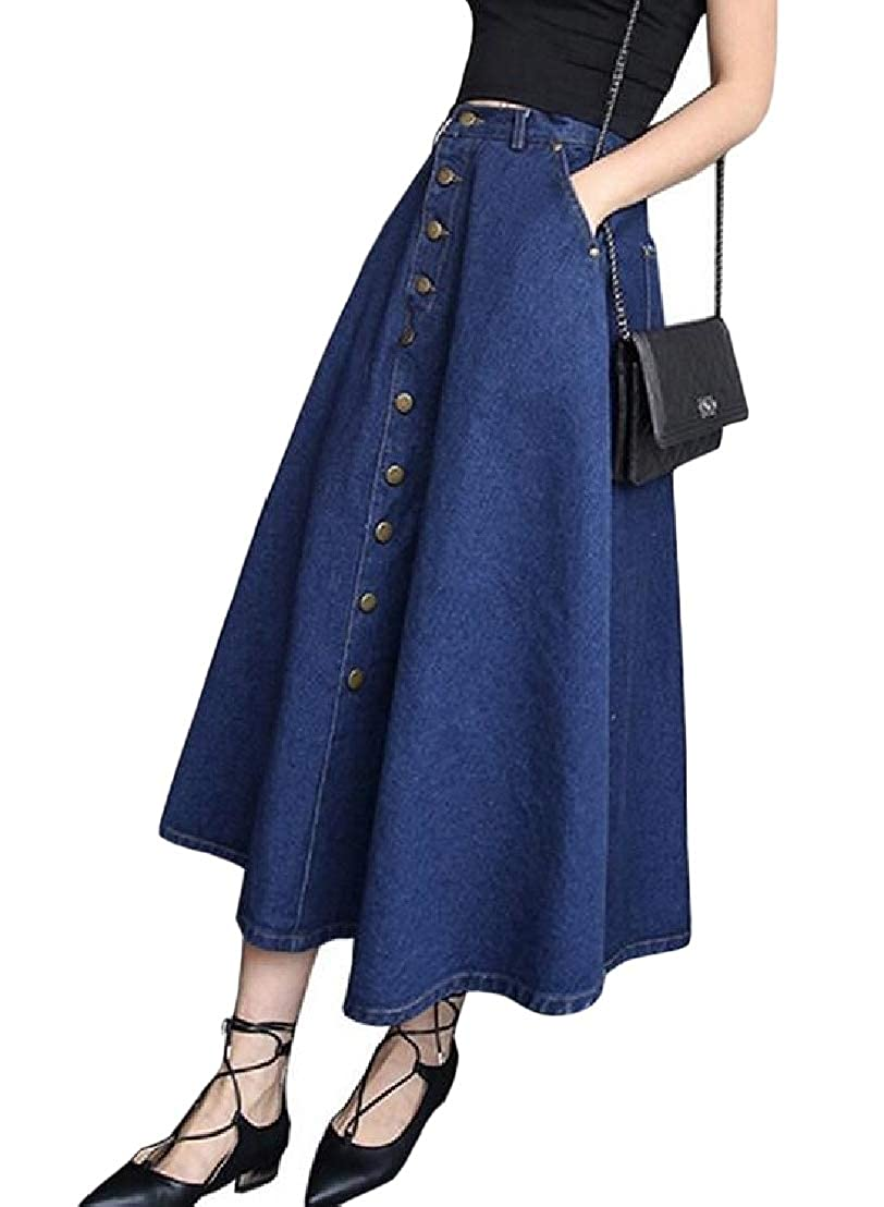 Wofupowga Women Single Breasted Swing Denim Casual High Waisted Long Skirts