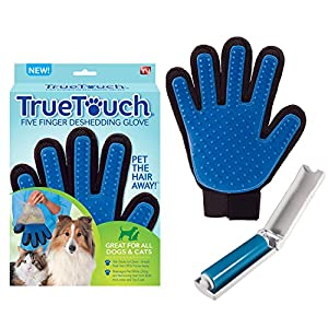 True Touch Five Finger Deshedding Glove- Premium Version, Gentle Grooming Glove Great Cats & Dogs with Long or Short Fur 19