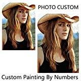 QIANDONG1 Personality Photo Customized Your Own DIY Oil Painting by Numbers Picture Drawing Canvas Portrait Wedding Family Children Photos,Framed,40x60cm
